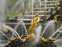 Fountain Samson in Russian palace Peterhof Stock Photo