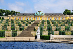Fountain at Sanssouci, Potsdam. Fountain in the garden of the Palace of Sanssouci in Potsdam, near Berlin, Germany Royalty Free Stock Photos