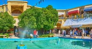 The fountain in Saraye Moshir Bazaar, Shiraz, Iran. SHIRAZ, IRAN - OCTOBER 14, 2017: The courtyard of Saraye Moshir Bazaar Golshan Sara with fountain, small royalty free stock photography