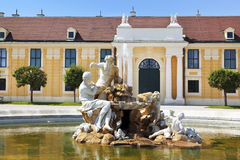 Fountain in Schonbrunn palace courtyard Stock Image