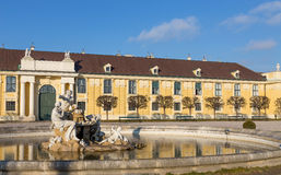 Fountain in Schonbrunn palace courtyard, Vienna, Austria Stock Photo