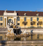 Fountain in Schonbrunn palace courtyard, Vienna, Austria Royalty Free Stock Image