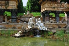 Fountain in the Schonbrunn Palace in Vienna Stock Photos