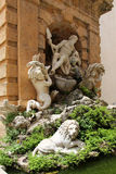 Fountain, with sculptural group in white marble Royalty Free Stock Image