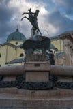 Fountain with sculpture. In Asiago (veneto, Italy Stock Photos