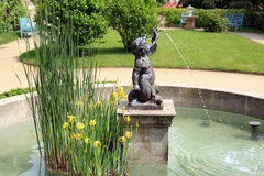 The fountain in the sculpture of the boy. Secluded fountain in the garden on the background of yellow irises royalty free stock image
