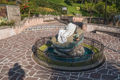 Fountain and sculpture of Juan Diego. VILLA OF GUADALUPE, MEXICO CITY, DECEMBER 04, 2017. Fountain and sculpture dedicated to the now Saint Juan Diego royalty free stock photography