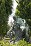 Fountain sculpture Vienna Austria  park with museum in backgroun Stock Image