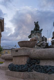 Fountain with sculpture of wolf. Fountain with sculpture at Asiago (veneto, Italy Stock Photo