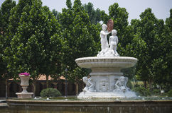 Fountain with sculptures Royalty Free Stock Photo