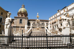 Fountain with scultures of Pretoria square at Palermo Stock Image