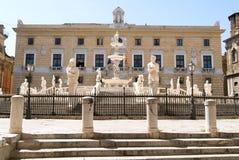 Fountain with scultures of Pretoria square at Palermo Stock Photo