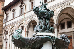 Fountain of sea monsters on Piazza in Florence Stock Photography
