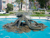 Fountain on the seafront, Rapallo, Italy Stock Photography