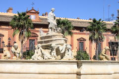 Fountain of Sevilla at the Puerta de Jerez square. Sevilla Stock Photography