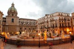 Fountain of shame on baroque Pretoria square, Palermo, Sicily, Italy Stock Photo