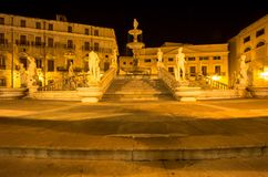 Fountain of shame on  Piazza Pretoria at night, Palermo, Italy. Famous fountain of shame on baroque Piazza Pretoria at night, Palermo, Italy Stock Photo