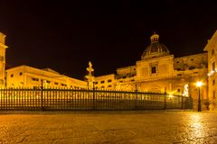 Fountain of shame on  Piazza Pretoria at night, Palermo, Italy Royalty Free Stock Images