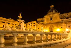 Fountain of shame on  Piazza Pretoria at night, Palermo, Italy Royalty Free Stock Photography
