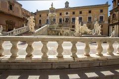 Fountain of shame on  Piazza Pretoria, Palermo, Italy. Famous fountain of shame on baroque Piazza Pretoria, Palermo, Italy Stock Photography