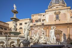 Fountain of shame on  Piazza Pretoria, Palermo, Italy Stock Photography