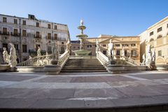 Fountain of shame on  Piazza Pretoria, Palermo, Italy Royalty Free Stock Image