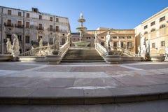 Fountain of shame on  Piazza Pretoria, Palermo, Italy. Famous fountain of shame on baroque Piazza Pretoria, Palermo, Italy Stock Photo