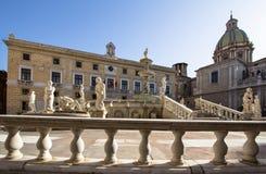 Fountain of shame on  Piazza Pretoria, Palermo, Italy. Famous fountain of shame on baroque Piazza Pretoria, Palermo, Italy Stock Image
