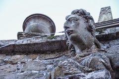 Fountain in shape of head of woamn  and  garden of villa lante Royalty Free Stock Photos