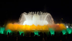 Fountain show. Barcelona landmark, Spain. Stock Images