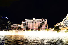 Fountain show at Bellagio hotel and casino Royalty Free Stock Photo