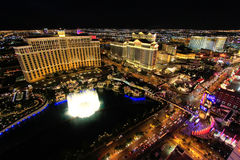 Fountain show at Bellagio hotel and casino at night, Las Vegas, Stock Image