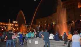 Fountain show on Republic square, Erevan. Fountain show in evening Yerevan, Armenia Royalty Free Stock Photography