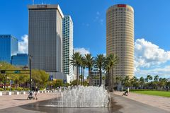 Fountain and Skycrapers on  Curtis Hixon waterfront park area. stock photography
