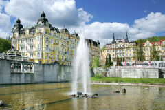 Fountain, spa Marianske lazne, Czech republic Royalty Free Stock Photo