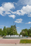 Fountain, In Space kosmonavata pilot named Yuri Gagarin, Republic of Mari El, Yoshkar-Ola, Jubilee Square. Royalty Free Stock Photos