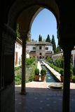 Fountain in spain. Generalife garden at the Alhambra in Granada with fountain with water Royalty Free Stock Photo