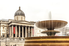 Fountain in spring at Trafalgar square Royalty Free Stock Images