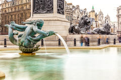 Fountain in spring at Trafalgar square Stock Photography