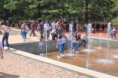 Fountain,spring,youth,party in the park royalty free stock photography