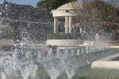 L`eliana municipal park fountain is sprinking water stock images