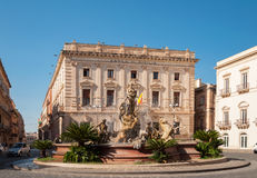 The fountain on the square Archimedes in Siracuse. Royalty Free Stock Photography
