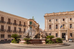 The fountain on the square Archimedes in Siracuse. Stock Photography