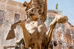 The fountain on the square Archimedes in Syracuse. Royalty Free Stock Image