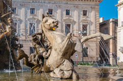 The fountain on the square Archimedes in Syracuse. Royalty Free Stock Photos