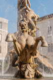 The fountain on the square Archimedes in Syracuse. Stock Photos