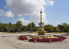 The fountain in the square in coral Gables. Coral Gables, better known as the City Beautiful, is an upscale luxury residential area of South Miami stock images