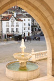 Fountain & square at the entrance of the National Palace. Sintra. Portugal Royalty Free Stock Image