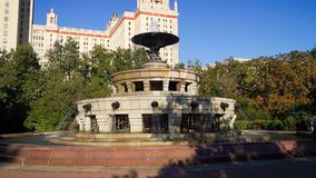 Fountain in the square in front of the main building of Moscow state University. stock footage
