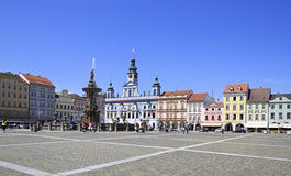 Fountain on the square in historic center of Ceske Stock Images